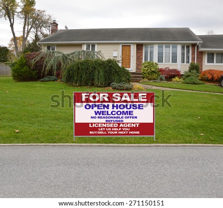 Real estate for sale open house welcome sign Suburban Ranch Home Landscaped Residential neighborhood USA Overcast Sky - stock photo