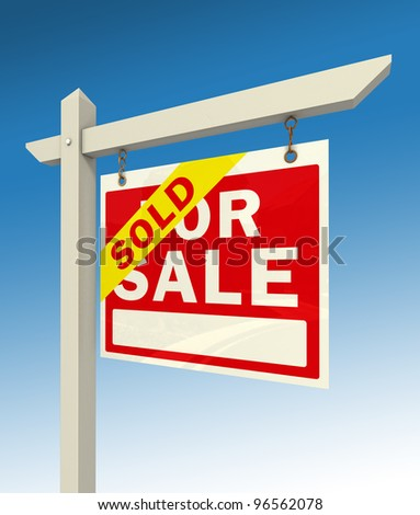 real estate for sale red sign and word sold on blue background clipping path included