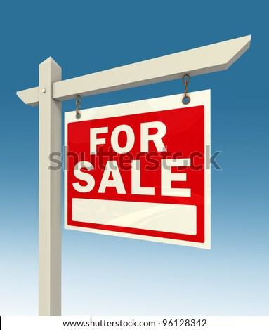 real estate for sale red sign on blue background clipping pah included - stock photo