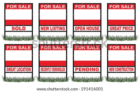 Real Estate For Sale Sign Short is an illustration of a real estate for sale sign in short size with eight different riders signs indicating sold, pending, etc. as well as space for your information. - stock photo