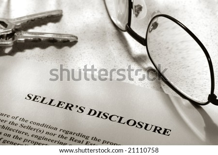 Real estate homeowner seller property condition disclosure statement with glasses and keys (fictitious document with authentic legal language)