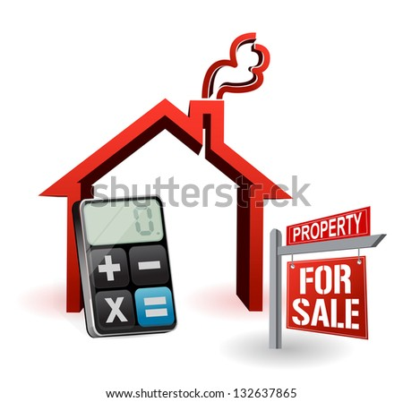 real estate house and modern calculator illustration design over white - stock photo