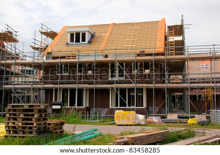 Real estate (house) construction in the netherlands - stock photo