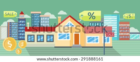 Real estate, house for sale, installment sale, credit. Design concept, flat icon, illustration. For web banners, promotional materials, presentation templates. Raster version - stock photo