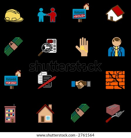 real estate icon series set. icons or design elements related to home / house buying, real estate, or estate gents. Raster version - stock photo