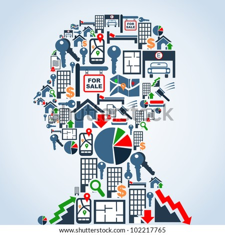 Real estate icon set in man head shape background illustration. Vector file layered for easy manipulation and custom coloring. - stock photo