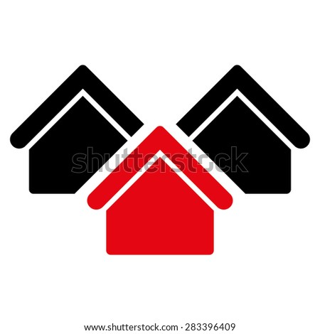 Real estate icon. Style: flat bicolor symbol, intensive red and black colors, rounded angles, white background. - stock photo