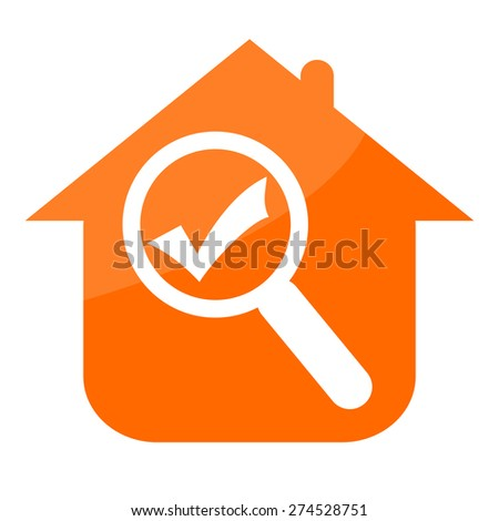 Real estate icon with house, magnifier glass and check mark - stock photo