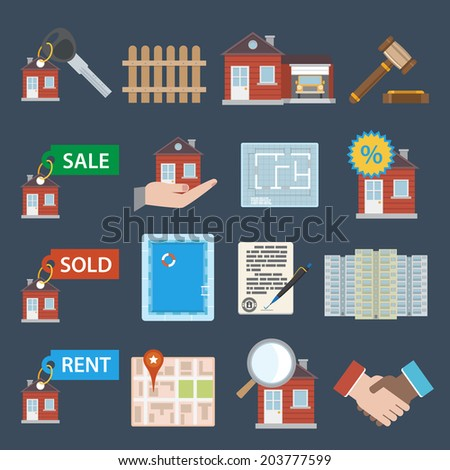 Real estate icons set of sale sold rent property apartment isolated  illustration