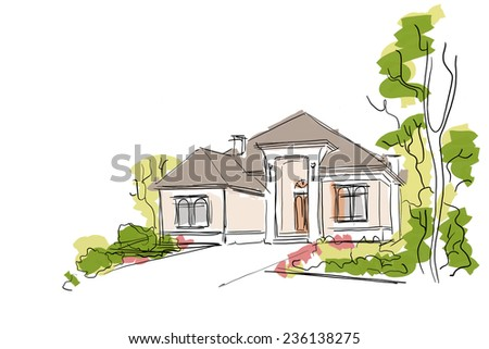 Real Estate Illustration. House Painting Sketch on White Background. - stock photo