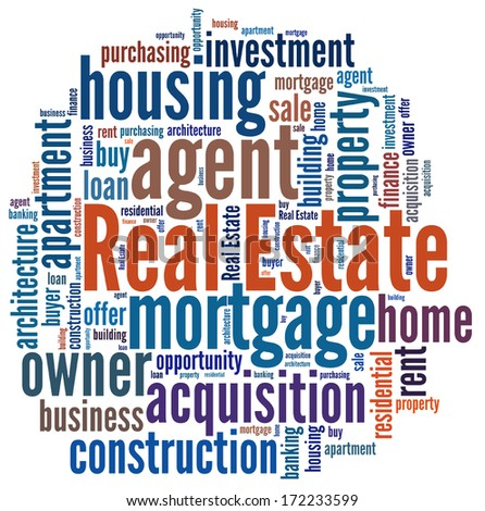 Real Estate in word collage - stock photo