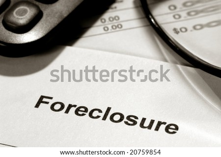 Real estate lender home foreclosure notice letter with the prominent number zero on financial account bank statement - stock photo
