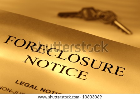 Real estate loan finance lender home foreclosure notice letter with set of house keys - stock photo