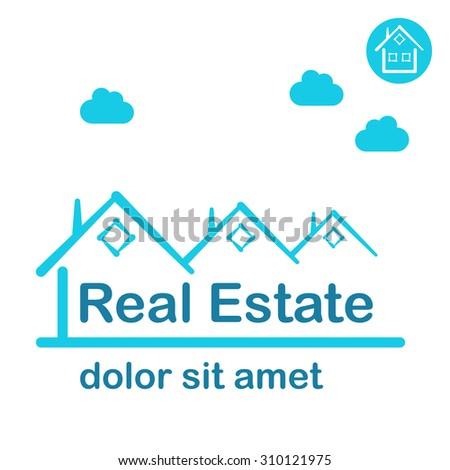 Real estate logo conception, 2d flat illustration, raster - stock photo