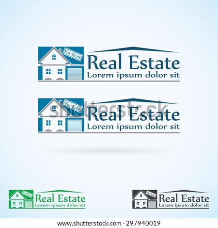 Real Estate  logo design template color set. House abstract concept icon. Realty construction architecture symbol, raster. - stock photo