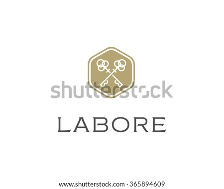 Real estate logotype. Keys hexagon logo icon design. - stock photo