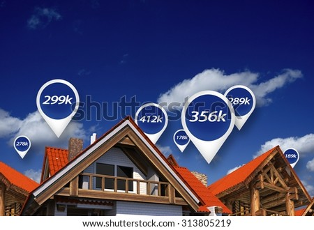 Real Estate Market Blue Price Tags Above Properties. House Prices. 3D Abstract Illustration. - stock photo