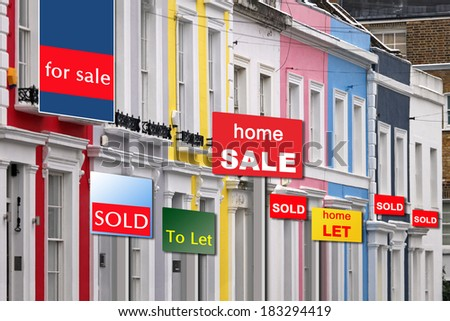 Real estate market booming in London with house prices soaring - stock photo