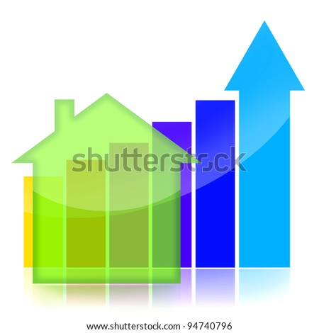 Real estate market business charts over white background - stock photo