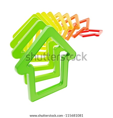 Real estate market prices down: queue line of green to red colored house emblems falling down as domino effect isolated on white background - stock photo