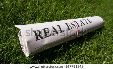 real estate newspaper on meadow - stock photo