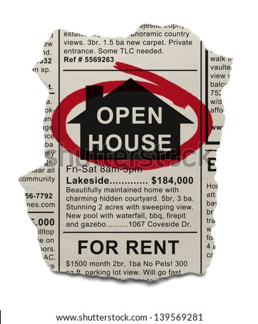 Real Estate Open House Ad circled with Red Marker Isolated On White Background. - stock photo