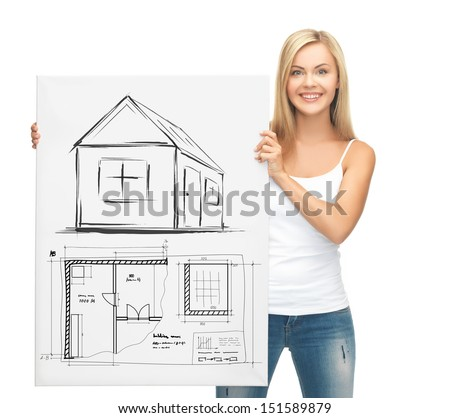 real estate, property, business and accomodation concept - woman holding picture with house and blueprint - stock photo