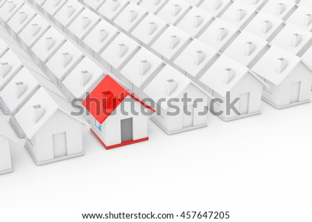 Real Estate Property Industry Concept. Red house in among White Houses on a white background. 3d Rendering