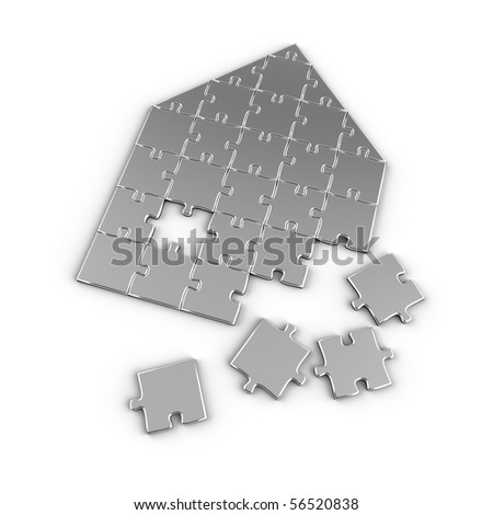 Real estate puzzle - house concept with puzzle pieces over white background - stock photo