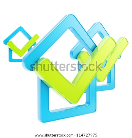 Real estate rating: composition of blue glossy checked house emblems with green yes tick icon over it isolated on white - stock photo