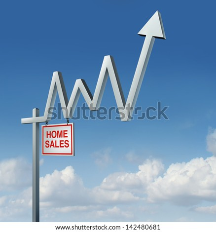 Real estate recovery and rising housing industry concept with a home for sale sign in the shape of a stock market financial chart graph with an upward arrow as a metaphor for the construction rise. - stock photo
