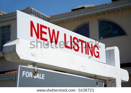 Real Estate red New Listing sign - stock photo