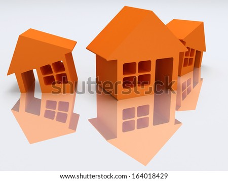 Real estate, rent, building, home concept. Three orange houses with reflection. 3d render icon.