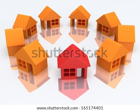 Real estate, rent, building, out of crowd home concept. Orange houses and red one with reflection. 3d render icon.
