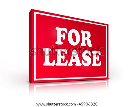 Real Estate Sign - For Lease on White background. 2D artwork. Computer design. - stock photo
