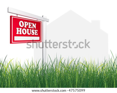 Real Estate Sign - Open House on white background with grass. 2D artwork. Computer Design. - stock photo