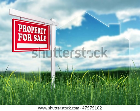 Real Estate Sign - Property For Sale. 2D artwork. Computer Design.