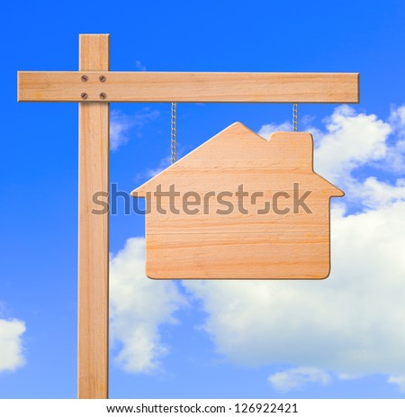 Real estate sign sky background, clipping path. - stock photo