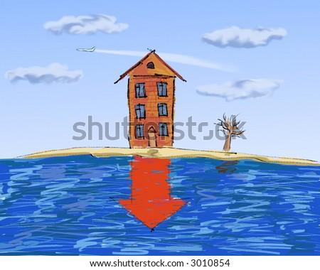 real estate, slump in prices - stock photo