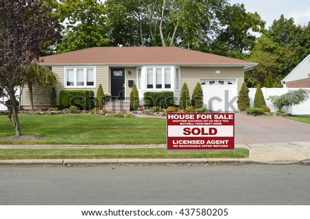 Real estate sold (another success let us help you buy sell your next home) sign Suburban Ranch House Bay Window Flowers Residential Neighborhood USA