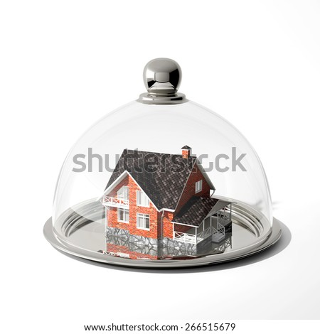 Real estate symbolizes the house on a silver platter - stock photo