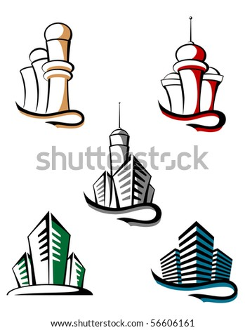 Real estate symbols - also as emblem or logo template. Vector version also available - stock photo