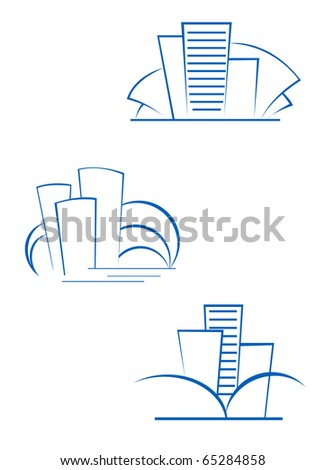 Real estate symbols for design isolated on white - also as emblem or logo template. Vector version also available - stock photo