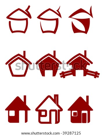 Real estate symbols for design or logo template. Vector version also available - stock photo