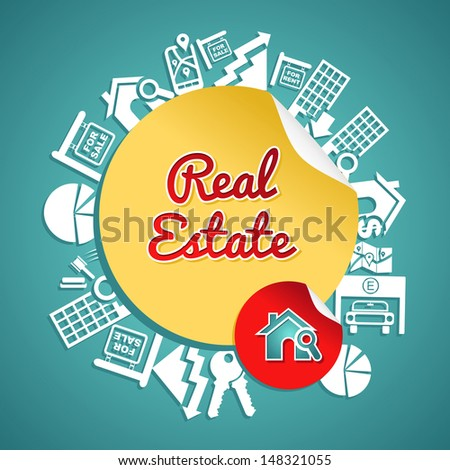 Real estate text, circle, house and lens icons, rental concept illustration.  - stock photo