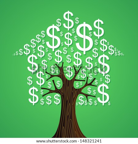 Real estate tree house money symbols rental concept illustration. - stock photo