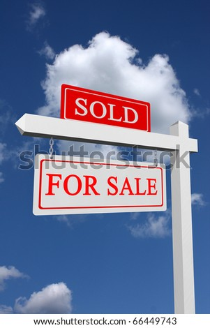 Real estate type for sale and sold sign with sky background - stock photo