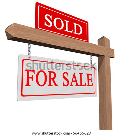 Real estate type for sale sold sign - stock photo