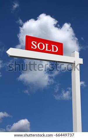 Real estate type sold sign with sky background