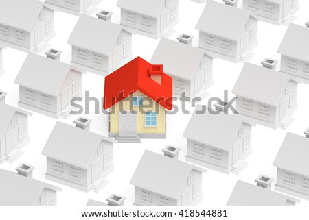 Real estate, uniqueness and individuality business creative concept - funny colorful unique house standing out from crowd of gray ordinary houses, 3d illustration - stock photo